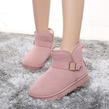 雪地靴  冬季磨砂皮带扣短筒牛筋防滑棉鞋