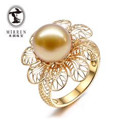 米润珠宝 南洋金珍珠戒指正圆18K金 花丝设计 定制款