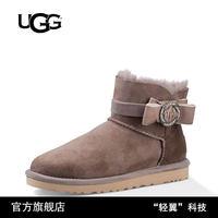 UGG冬季新款女士牛麂皮经典水晶系列胸针款迷你靴 1012335