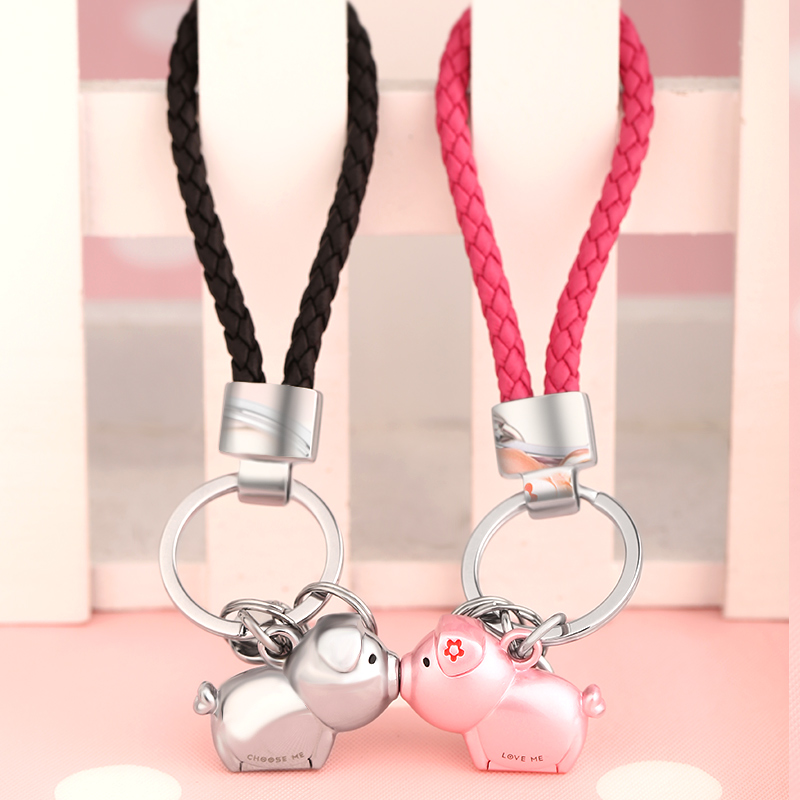 Couple keychain a pair of men and women car key chain pendant South Korea cute pig creative simple custom ring ring