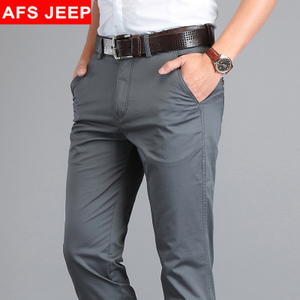 CreamSoda 新款AFS JEEP休闲裤男夏季薄款商务直筒裤子宽松男装大码纯棉长裤