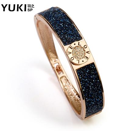 YUKI手镯女士 气质韩版蓝水晶手饰品 韩国时尚首饰送情人礼物手环
