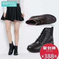 聚Teenmix/天美意冬季专柜同款牛皮革系带皮/绒里女短靴6US43DD5