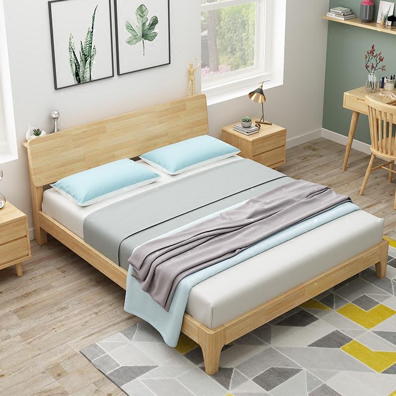 简易原木床 出租房经济型纯实木床 特价1.5m1.8m木板双人床