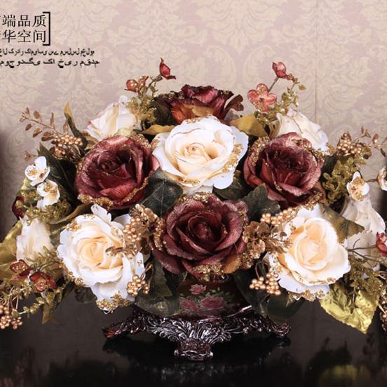 美式欧式仿真花套装 绢花仿真花客厅餐桌茶几假花装饰花仿真花
