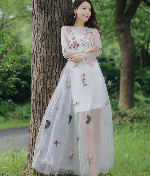Two-Piece Real Shot Mesh Perspective Butterfly Embroidery Sweet Dress Fairy Holiday Dress Two-Piece Real Shot