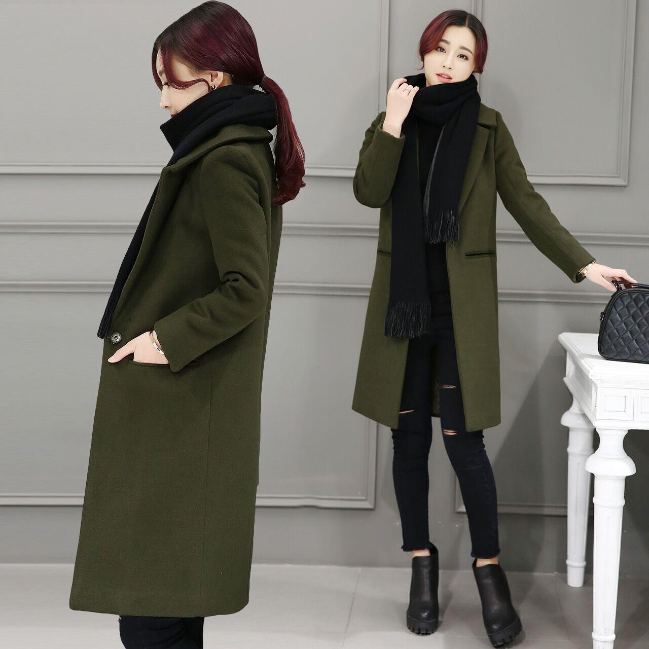 反季秋冬装韩版女装加厚毛呢外套女中长款廓形呢子大衣显瘦潮冬季