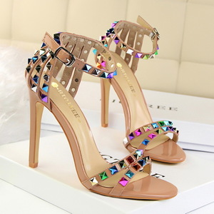 126-2 the European and American wind sexy club for women's shoes high-heeled shoes high heel with color rivet one word w