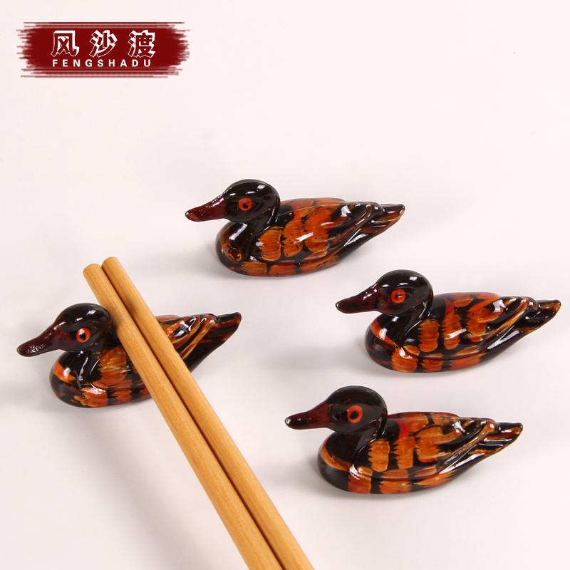 风沙渡可爱小鸭子搁筷子架1122