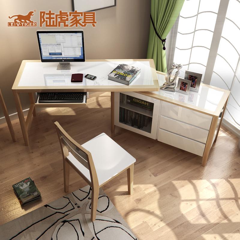 陆虎北欧简约书房家具钢琴烤漆电脑桌LH-K2