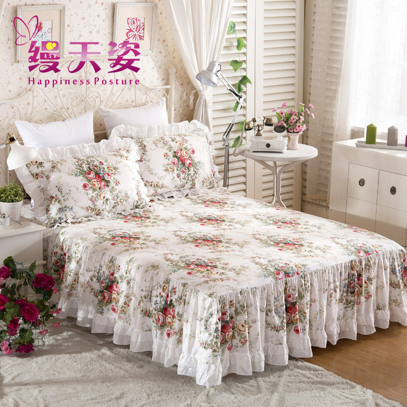 缦天姿蕾丝床裙单件纯棉床单床套MTZ-16072701