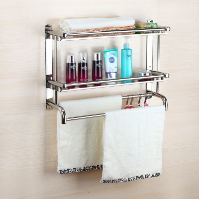 Bathroom shelf 2 stainless steel Towel rack Towel rack Toilet supplies Hole-free bathroom Shelf