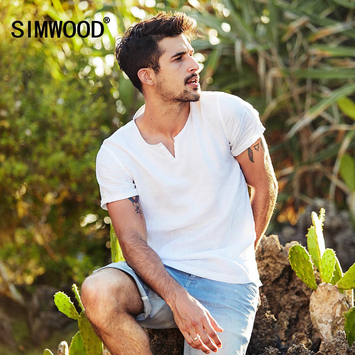 Simwood简木男装夏季新款简约半开V领亚麻衬衣修身薄款短袖衬衫男