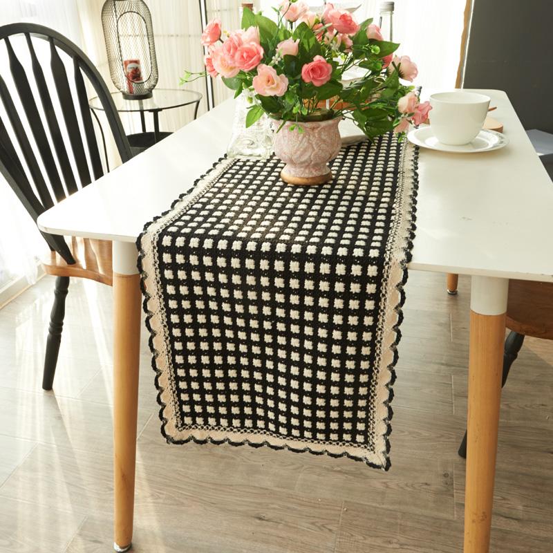 珍珠松欧式纯色编织布艺赫本桌旗1