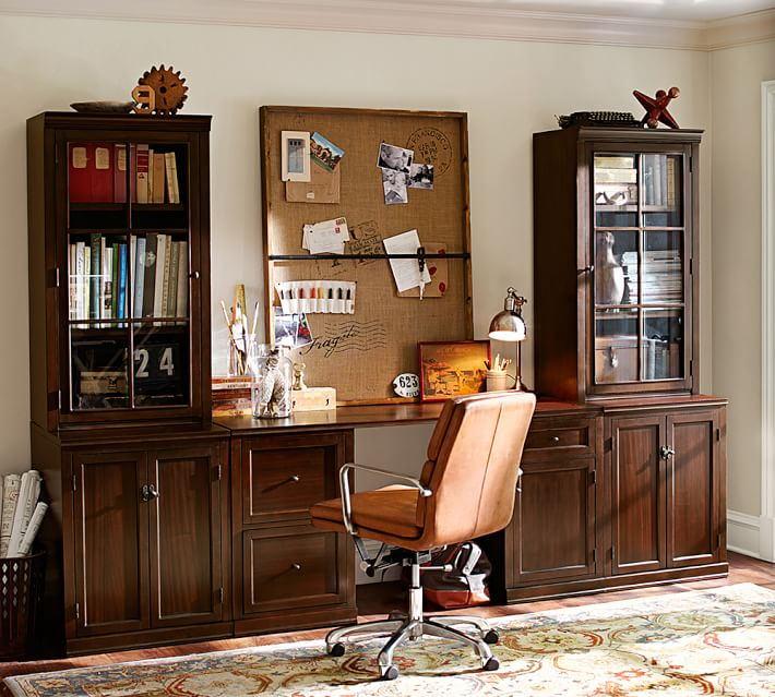 坤润美式乡村办公桌书柜A4-6