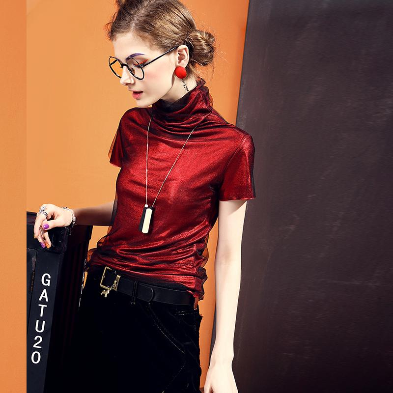欧洲站高领短袖t恤女欧货上衣女修身网纱亮丝酒红色打底衫女春秋