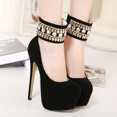 runway star with a 16CM high heels shoes handmade ethnic Fengshui drilling shoes's main photo