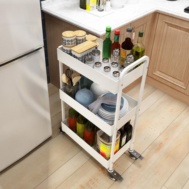 金属厨房置物架落地多层推车宜家家用3层收纳整理架储物架手推车