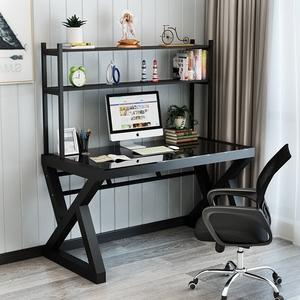 2平米 电脑桌台式家用简约现代经济型办公桌钢化玻璃组装多功能卧室书桌