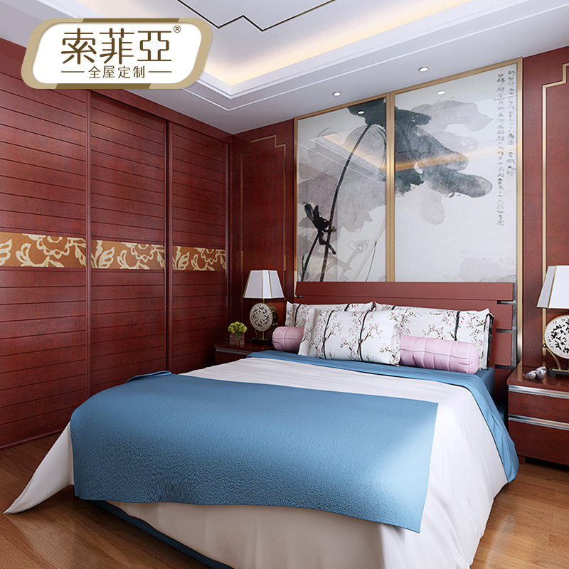 索菲亚床c款加宽板式床c款简约床-1