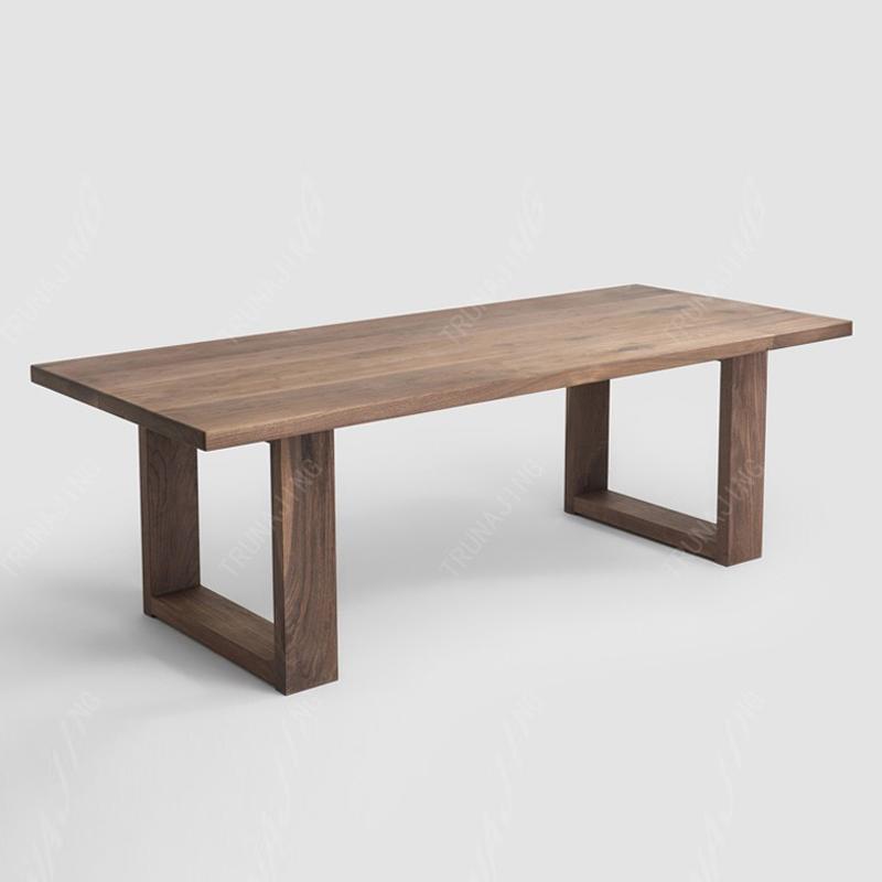 北美黑胡桃木4.3cm厚实木餐桌 长方形书桌现代简约田园式家具饭桌