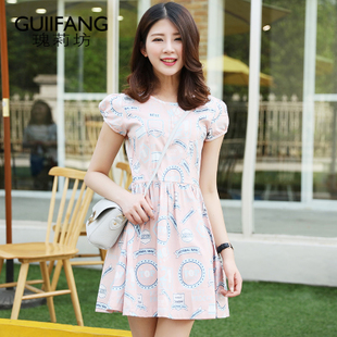 瑰莉坊少女连衣裙2016夏装新款韩版修身中学生短袖连衣裙