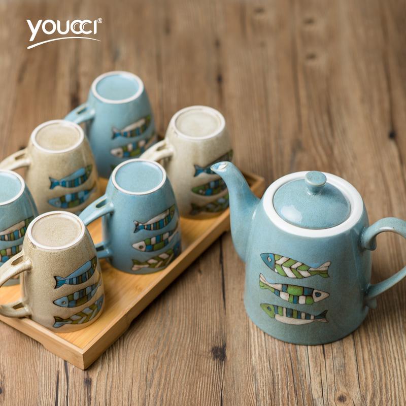 youccci悠瓷8件套陶瓷茶具海洋系列茶具套装