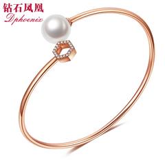 钻石凤凰 18K金手镯女款 时尚弹力珍珠手环镶嵌钻石手饰 真钻