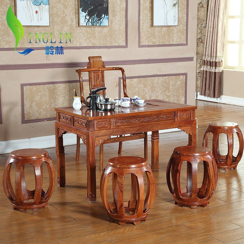 岭林红木花梨木茶桌小马蹄