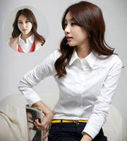 Women's White Shirt Women's Long Sleeve Workwear New Korean Slim Women's Tops Shirt Shirt Large Shirt Women