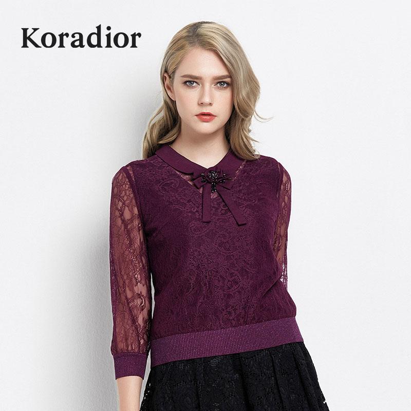 Koradior-珂莱蒂尔2018正品新款夏季短款套头衫七分袖针织衫女薄