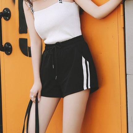 2017新款宽松韩版显瘦阔腿运动短裤女夏季黑高腰百搭学生休闲热裤