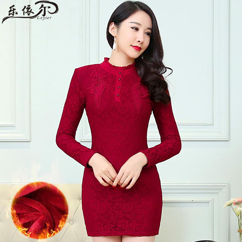 加绒加厚蕾丝连衣裙冬装时尚显瘦立领高领蕾丝打底衫女长袖包臀裙
