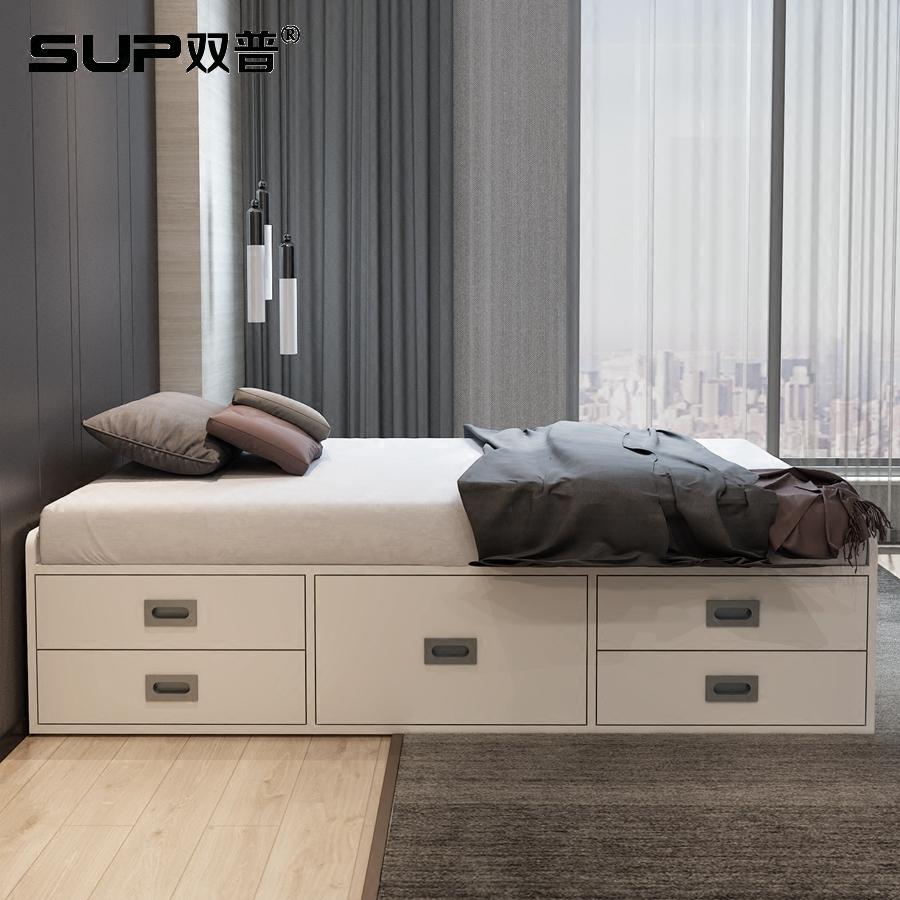 现代简约无床头小户型储物榻榻米实木多层板1.2米单人床床箱定制
