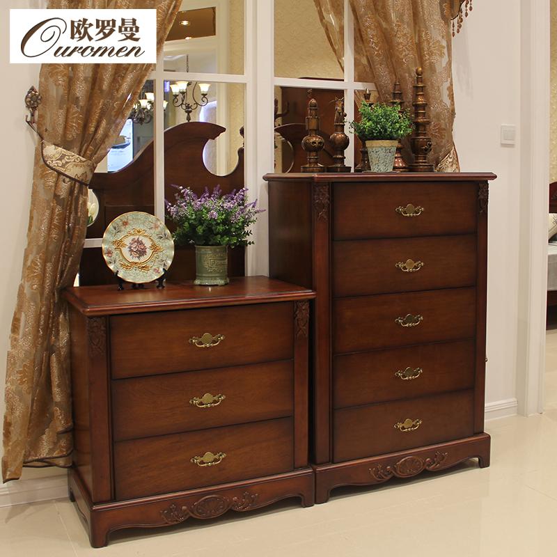 欧罗曼美式简约实木雕刻斗柜151