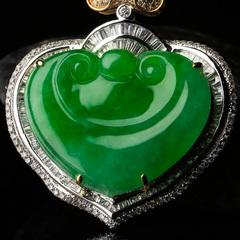润志翡翠吊坠老坑冰糯种满阳绿镶钻如意挂件镶嵌玉坠B8535