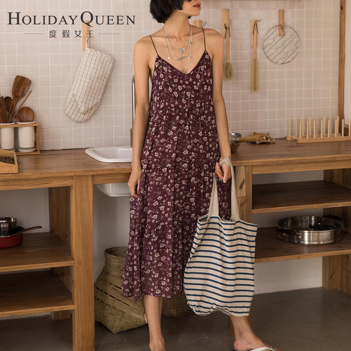 度假女王波西米亚沙滩裙碎花连衣裙宽松吊带裙荷叶边大摆雪纺长裙