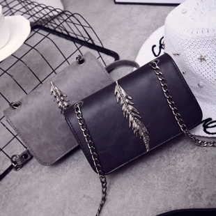 2017 новый япония и южная корея мини мешки сумки волна мода плечо сумка ретро дерево лист цепь маленький квадрат пакет
