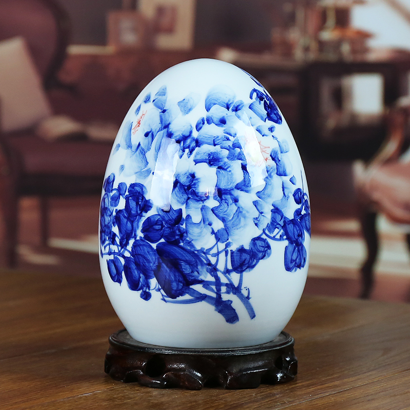 Jingdezhen blue and white porcelain ceramic vase riches and honour figure of modern home sitting room place the egg handicraft gifts