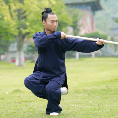 Wudang linen Taiji clothing oblique collar robes GI men and women martial arts morning training Taoist clothing suit