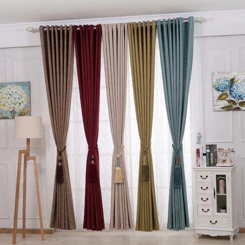 全遮光纯色窗帘飘窗落地窗帘半遮光