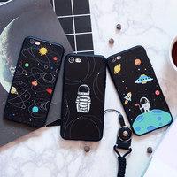 iphone7plus手机壳韩国卡通苹果6保护套硅胶全包软壳7p挂绳潮男女
