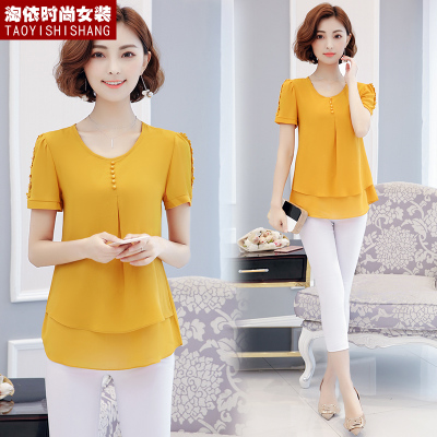 Chiffon shirt short sleeves in the long section 2018 new summer Korean women fake two cover stomach loose shirt shirt