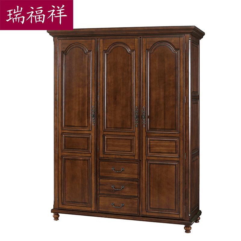 瑞福祥美式全实木衣柜i338