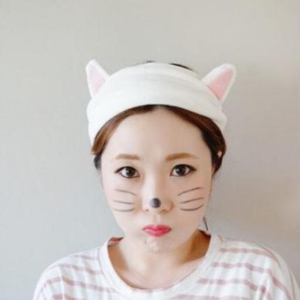 美丽公主 韩版束发带兔耳朵洗漱发箍化妆发套 猫耳朵可爱粉色发箍