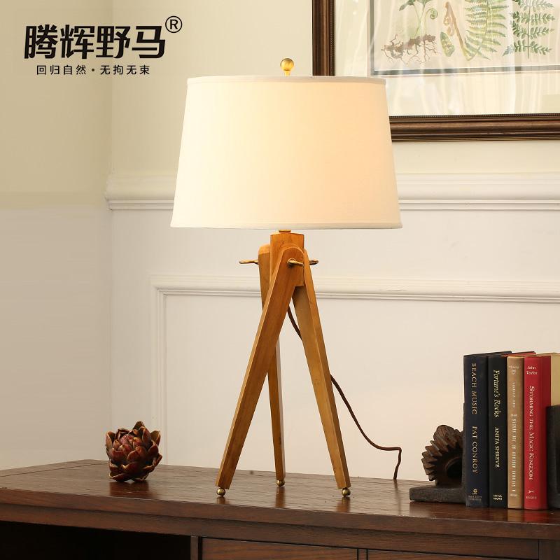 腾辉野马实木美式三脚架台灯T10189
