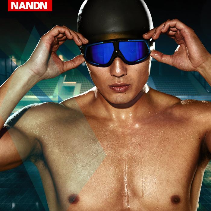 NN泳镜 大框 高清防雾游泳镜男女平光度数电镀游泳眼镜 近视泳镜