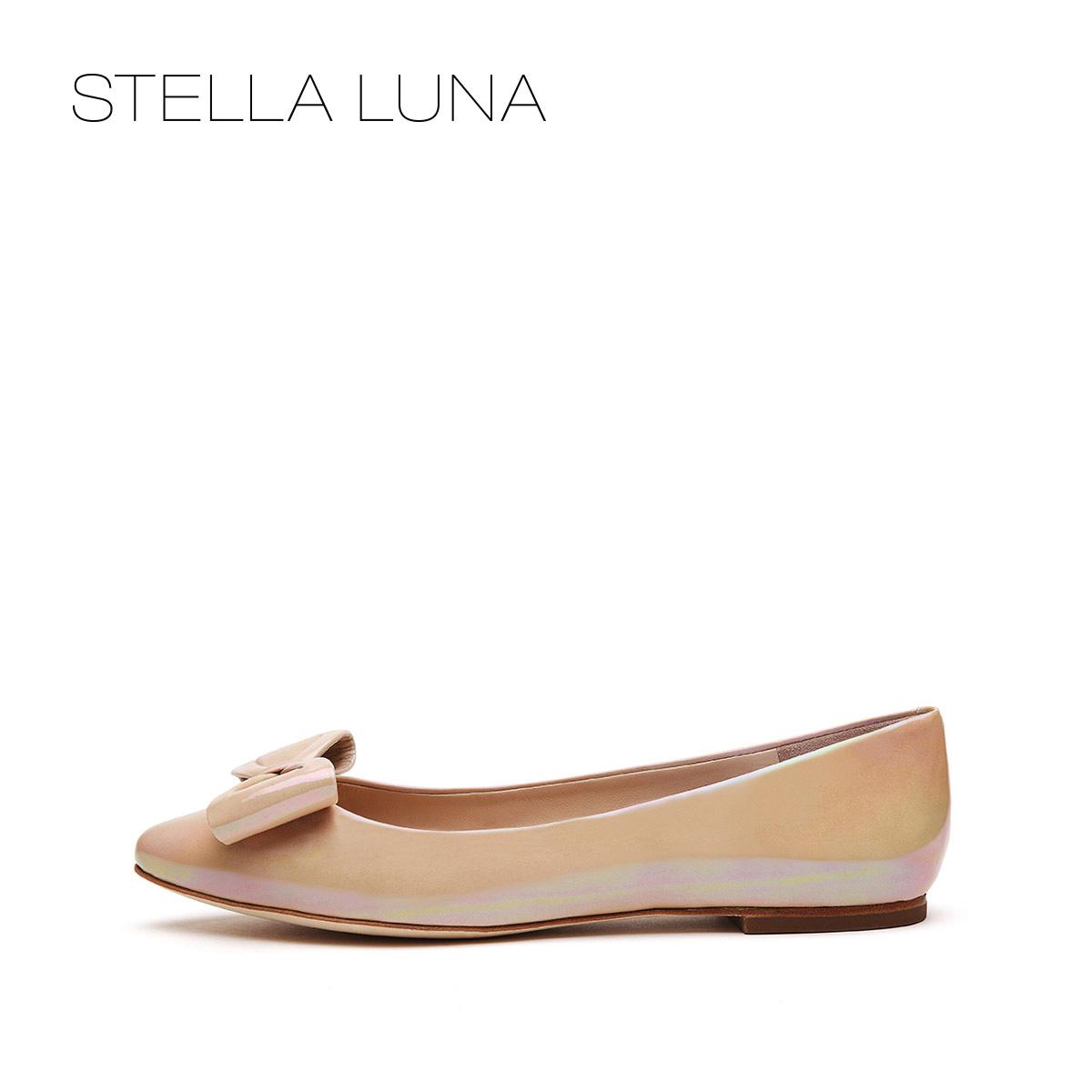 STELLA LUNA春夏尖头设计师款浅口女鞋牛皮蝴蝶结套脚平跟单鞋