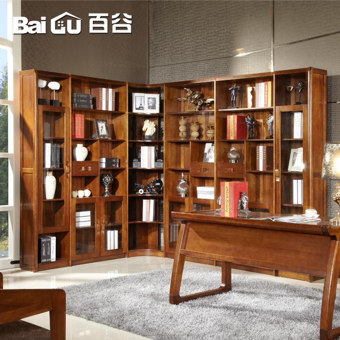 百谷高档全实木书柜v68