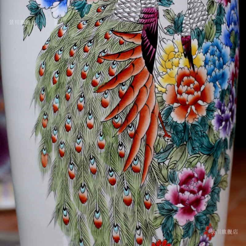 Jingdezhen ceramics hand - made pastel color peacock peony hotel furnishing articles home sitting room of large vase